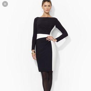 black color block Matte Jersey dress